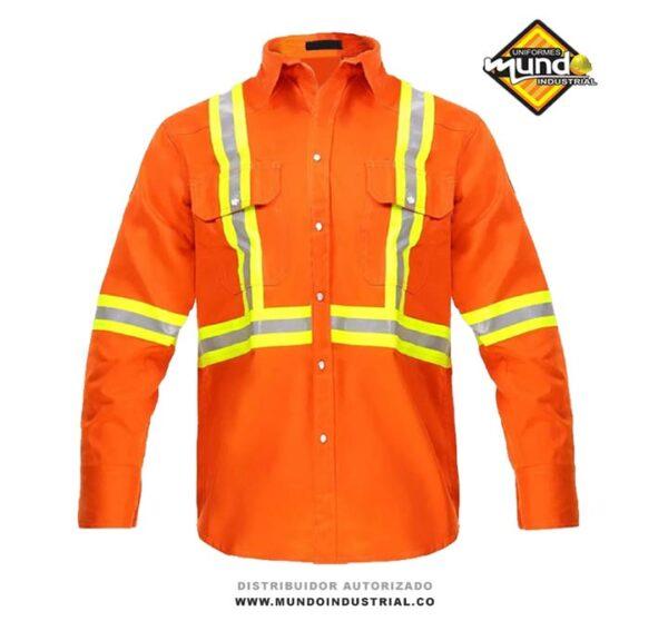 Camisa de trabajo industrial manga larga con reflectivo para hombre