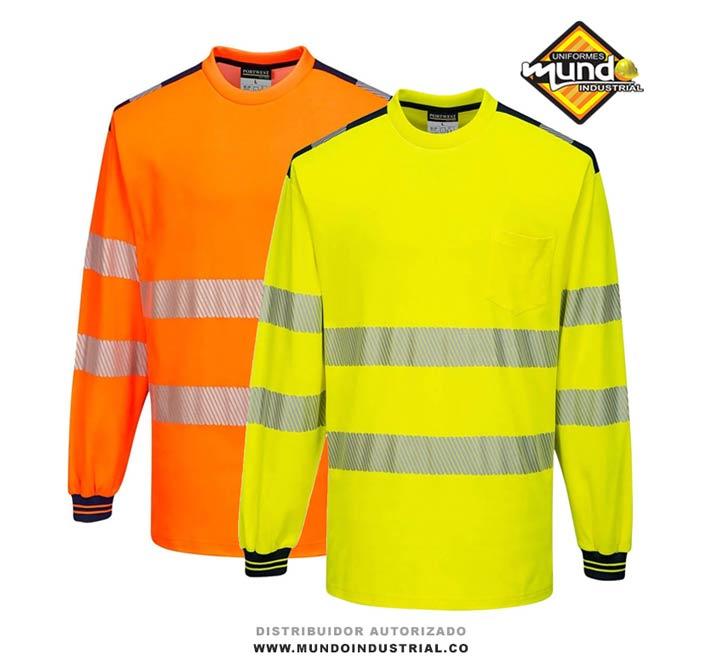camiseta de trabajo manga larga de alta visibilidad con reflectivo