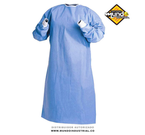 Bata quirúrgica antifluido lavable-azul con puño blanco