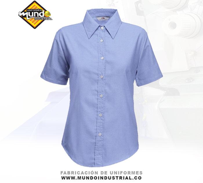Camisa oxford manga corta de dotación para mujer