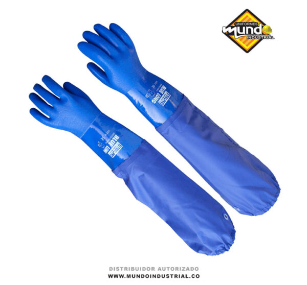 Guante blue long de PVC steelpro guantes resistentes a productos-químicos