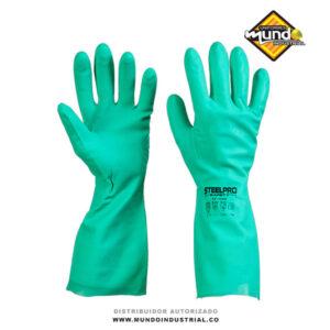 Guantes de Nitrilo verde marca steelpro protección química
