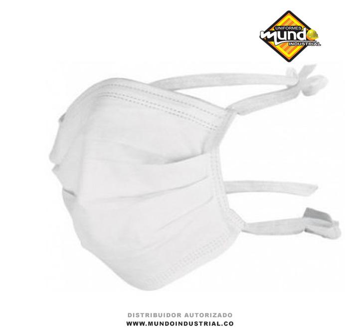Tapabocas blanco en dacrón con tiras para amarrar atrás