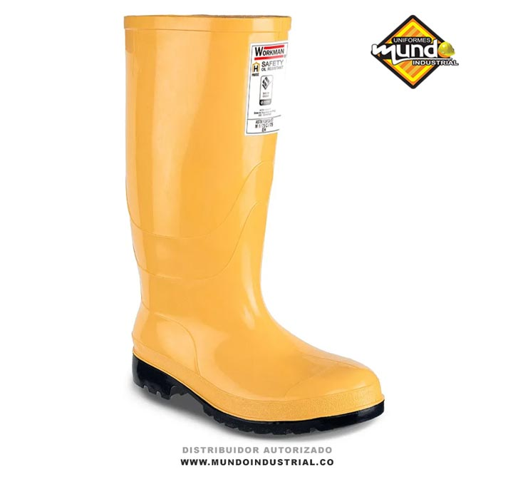 Botas de caucho workman safety oil resistant amarilla con punta de acero