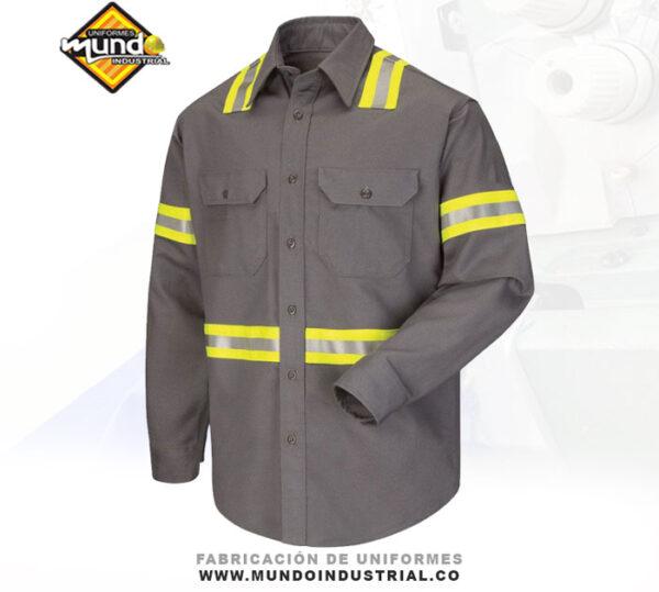 camisa industrial manga larga con reflectivo