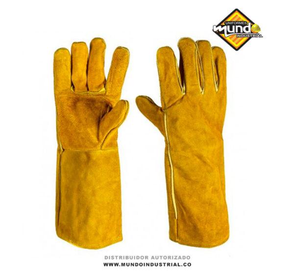 guante de carnaza largo para soldador carnaza amarillo