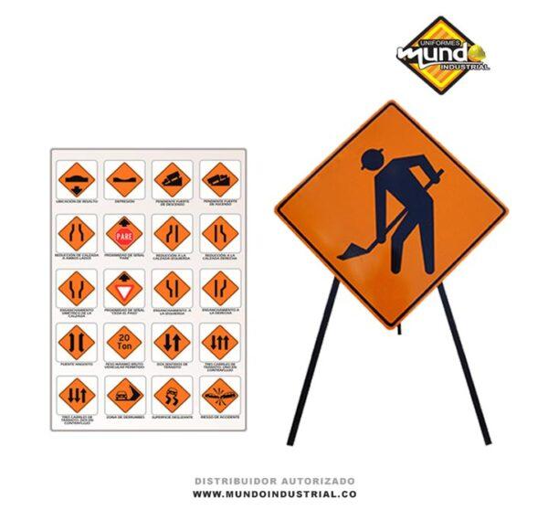 Señales de obra en construcción en la vía publica